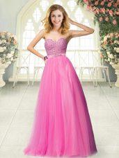 Romantic Hot Pink Tulle Zipper Sweetheart Sleeveless Floor Length Dress for Prom Beading