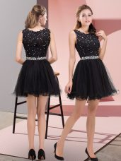 Mini Length Zipper Prom Evening Gown Black for Prom and Party with Beading