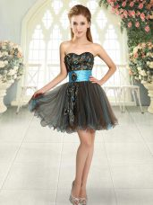 Brown A-line Tulle Sweetheart Sleeveless Beading and Appliques Mini Length Lace Up