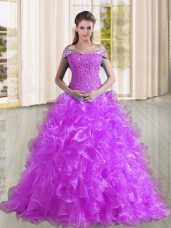 Super Purple Sleeveless Organza Sweep Train Lace Up Sweet 16 Dresses for Military Ball and Sweet 16 and Quinceanera