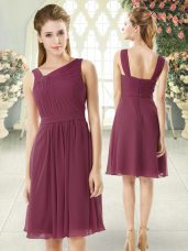 Ruching Prom Party Dress Burgundy Zipper Sleeveless Knee Length