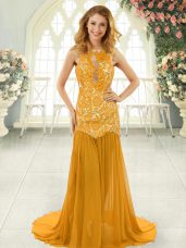 High End Mermaid Sleeveless Gold Prom Gown Brush Train Backless