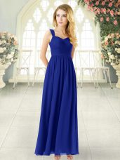 Ankle Length Royal Blue Prom Dress Chiffon Sleeveless Ruching