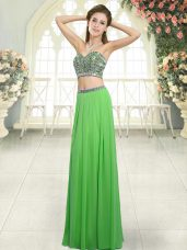 Pretty Green Sleeveless Beading Floor Length Homecoming Dress