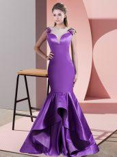Great Scoop Sleeveless Satin Evening Dress Appliques Sweep Train Side Zipper