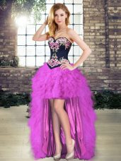Elegant High Low Purple Formal Dresses Sleeveless Embroidery and Ruffles