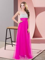 On Sale Floor Length Fuchsia Prom Dresses Chiffon Sleeveless Sequins