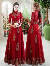 Wine Red Formal Dresses Prom and Party with Lace High-neck 3 4 Length Sleeve Zipper
