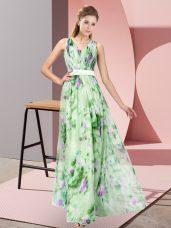 Fine Sleeveless Zipper Floor Length Pattern Prom Party Dress
