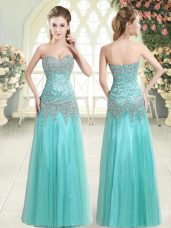 Apple Green Tulle Zipper Prom Evening Gown Sleeveless Floor Length Beading