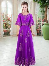 Modern Scoop Half Sleeves Homecoming Dress Floor Length Lace Purple Tulle