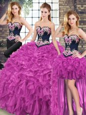 Flare Fuchsia 15th Birthday Dress Military Ball and Sweet 16 and Quinceanera with Embroidery and Ruffles Sweetheart Sleeveless Sweep Train Lace Up