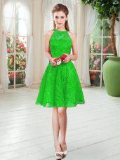 Trendy Scoop Sleeveless Zipper Lace Prom Dress in Green