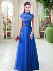 Royal Blue Cap Sleeves Tulle Lace Up Prom Evening Gown for Prom