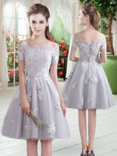 Hot Selling Knee Length Grey Homecoming Dress Tulle Short Sleeves Appliques