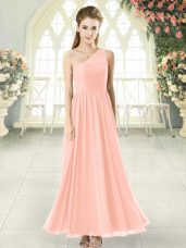 Gorgeous Ankle Length Side Zipper Party Dress Pink for Prom and Party with Lace
