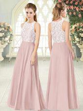 Pink Empire Scoop Sleeveless Chiffon Floor Length Zipper Lace Teens Party Dress