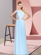 ccc0fe4bec3 Sleeveless Floor Length Ruching Lace Up Prom Dresses with Blue  US  106.4500