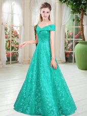 Luxury Sleeveless Lace Up Floor Length Beading Evening Dress
