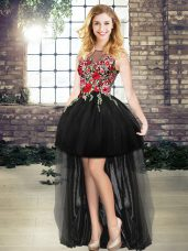 Sophisticated Black A-line Scoop Sleeveless Tulle High Low Lace Up Embroidery Formal Dresses