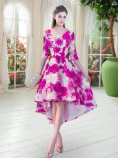 Fuchsia Half Sleeves Lace Lace Up Prom Dress for Prom and Party