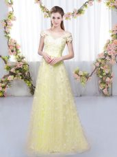 Cap Sleeves Tulle Floor Length Lace Up Wedding Guest Dresses in Light Yellow with Appliques