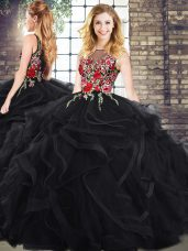 Black Zipper Sweet 16 Quinceanera Dress Sleeveless Embroidery and Ruffles