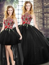 Cute Floor Length Ball Gowns Sleeveless Black Sweet 16 Dress Zipper