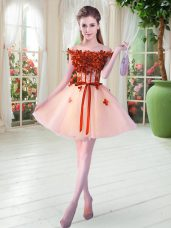 Peach Lace Up Off The Shoulder Beading and Appliques Prom Dress Tulle Sleeveless