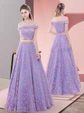 Lavender A-line Lace Off The Shoulder Sleeveless Beading Floor Length Zipper Homecoming Dress