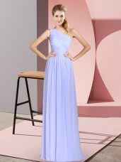 Empire Baby Blue One Shoulder Chiffon Sleeveless Floor Length Lace Up
