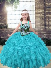 Excellent Floor Length Aqua Blue and Turquoise Winning Pageant Gowns Straps Sleeveless Lace Up