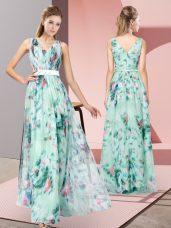 Glamorous Empire Prom Dress Multi-color V-neck Printed Sleeveless Floor Length Zipper