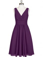Knee Length A-line Sleeveless Purple Evening Dress Zipper