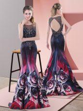 Affordable Sleeveless Sweep Train Beading Backless Prom Dress