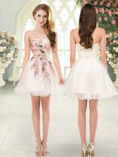 New Style Champagne A-line Tulle Sweetheart Sleeveless Beading and Appliques Mini Length Lace Up Dress for Prom