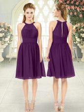 Eye-catching Ruching Prom Dress Purple Zipper Sleeveless Knee Length