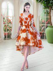 Orange Red Scoop Neckline Belt Dress for Prom Half Sleeves Lace Up