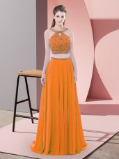 Fancy Chiffon Straps Sleeveless Sweep Train Backless Beading Evening Dress in Orange
