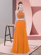 Fancy Chiffon Straps Sleeveless Sweep Train Backless Beading Evening Dress in Orange