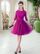 Low Price Fuchsia Scalloped Zipper Lace Half Sleeves