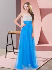 Floor Length Empire Sleeveless Baby Blue Prom Dresses Side Zipper
