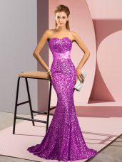 Hot Sale Sweetheart Sleeveless Sweep Train Zipper Prom Gown Purple Sequined