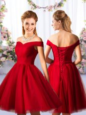 Smart Red Lace Up Off The Shoulder Ruching Quinceanera Court of Honor Dress Tulle Sleeveless