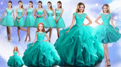 Custom Fit Aqua Blue Lace Up Scoop Beading Quinceanera Dress Cap Sleeves