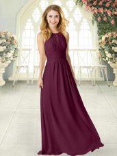 Fashion Floor Length Burgundy Prom Dresses Chiffon Sleeveless Ruching