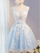 Knee Length Baby Blue Dress for Prom Scoop Sleeveless Lace Up