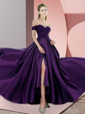 Stunning Elastic Woven Satin Sleeveless Sweep Train and Beading and Lace