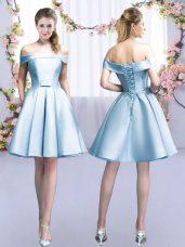 Light Blue A-line Off The Shoulder Sleeveless Satin Mini Length Lace Up Belt Bridesmaid Dress