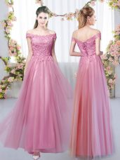 Pink Empire Off The Shoulder Sleeveless Tulle Floor Length Lace Up Lace Bridesmaid Dress